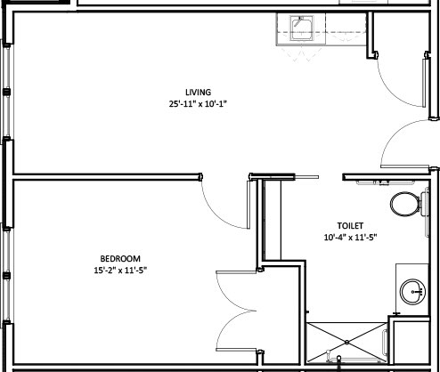 One Bedroom Deluxe Suite floorplan